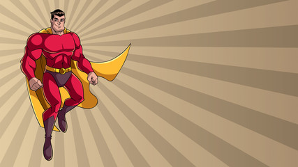 Full length illustration of happy cartoon superhero wearing cape and red costume while flying over abstract ray light background.