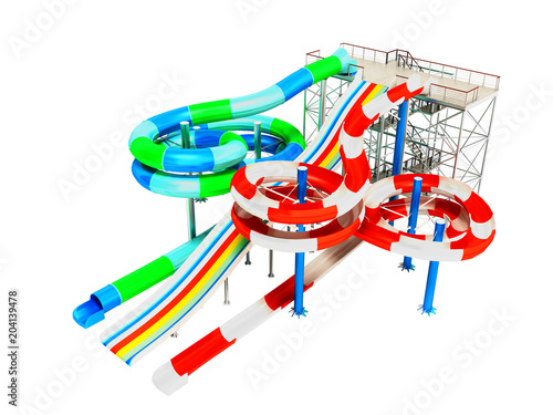 Modern water slide for water park one big slide for three