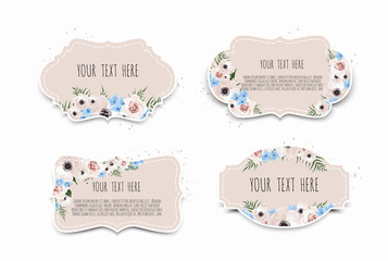 Vector set. Vintage labels with flowers. Frame border with copy space