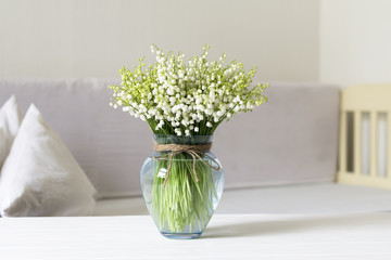Poster de jardin Muguet de mai Living room interior design with still life, blossom lily of the valley in vase