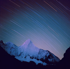 The night view of the snow mountain in Aden,Daocheng County,Sichuan Province,China