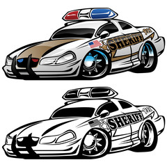 Sheriff Muscle Car Cartoon Vector Illustration