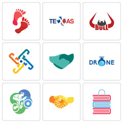 Set Of 9 simple editable icons such as book shop, hand shake, cyclist