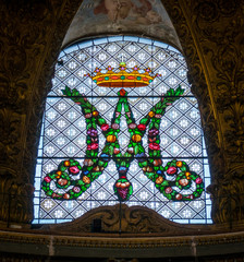Stained glass in the Church of Santa Maria dell'Orto, in Rome, Italy.