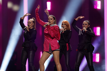 """Macedonia's Eye Cue performs """"Lost and Found"""" during the Semi-Final 1 for Eurovision Song Contest 2018 in Lisbon"""