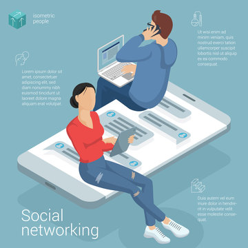 Flat design social network vector template