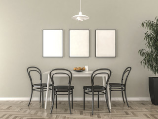 Kitchen table with blank picture frames