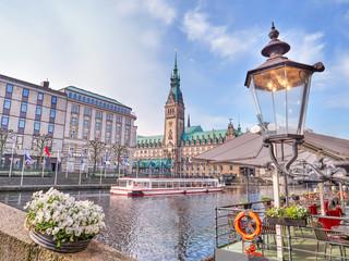 Town Hall in Hamburg city, lake Binnenalster, historical center