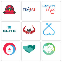 Set Of 9 simple editable icons such as hands shaking, hand heating cooling