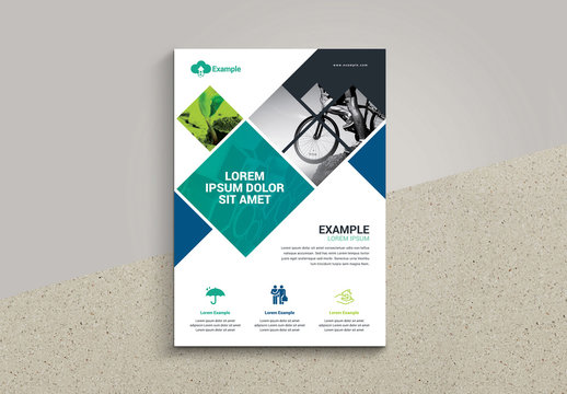 Business Flyer Layout with Diamond Photo Elements
