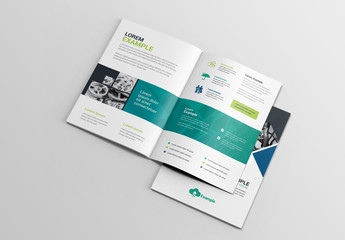 BiFold Business Brochure Layout with Diamond Photo Elements