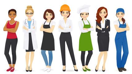 Different woman professions set vector illustration.