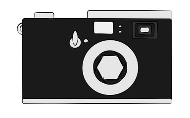 Old black and white retro vintage antique hipster obsolete camera on white background. illustration.