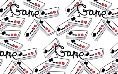 A pattern of old white retro vintage antique hipster joysticks for video game consoles and an inscription game from the 80's, 90's on a white background. illustration