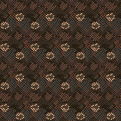 Camouflage snake stains brown seamless vector pattern. Abstract chaotic tan colors repeating reptile skin background.