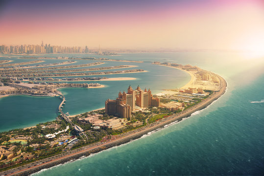 Palm Island in Dubai, aerial view