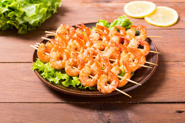 grilled shrimps skewers