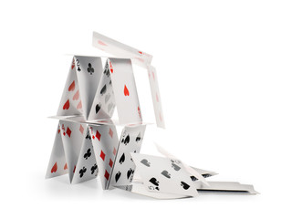 Falling house of cards isolated with clipping path
