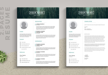 Resume Set with Green Photo Header