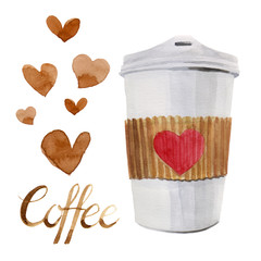 Watercolor isolated coffee cup to go with red heart shape and calligraphic coffee hand written