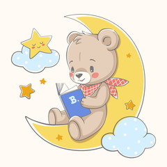 Cute bear sits on the moon and reads a book cartoon hand drawn vector illustration.