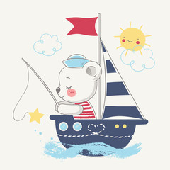 Cute bear sailor on the ship cartoon hand drawn vector illustration. Can be used for t-shirt print, kids wear fashion design, baby shower celebration greeting and invitation card.