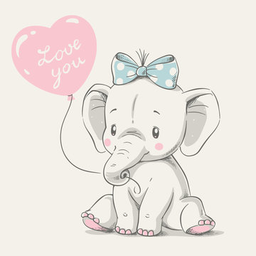 Cute elephant with balloon hand drawn vector illustration. Can be used for t-shirt print, kids wear fashion design, baby shower greeting and invitation card.