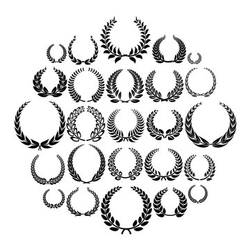 Laurel wreath icons set. Simple illustration of 25 laurel wreath vector icons for web