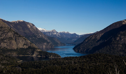 Beautiful view of the lakes and mountains in Bariloche, Argentina