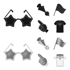 Pipe, uniform and other attributes of the fans.Fans set collection icons in black,monochrom style vector symbol stock illustration web.