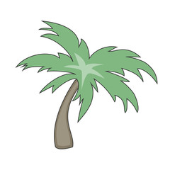 Palm tree icon in flat style isolated on white background. Vector illustration.
