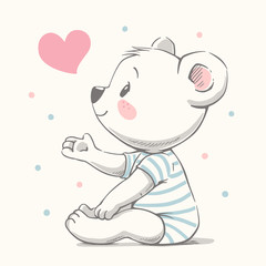 Cute bear cartoon hand drawn vector illustration. Can be used for t-shirt print, kids wear fashion design, baby shower celebration greeting and invitation card.