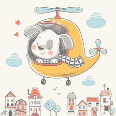 Cute puppy on a helicopter cartoon hand drawn vector illustration. Can be used for t-shirt print, kids wear fashion design, baby shower celebration greeting and invitation card.