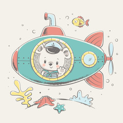Cute bear sailor on a submarine cartoon hand drawn vector illustration. Can be used for t-shirt print, kids wear fashion design, baby shower celebration greeting and invitation card.