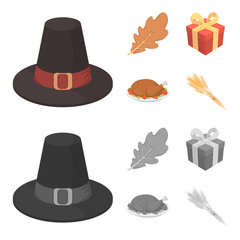 Hat of a pilgrim, oak leaf, gift in a box, fried turkey. Canada thanksgiving day set collection icons in cartoon,monochrome style vector symbol stock illustration web.