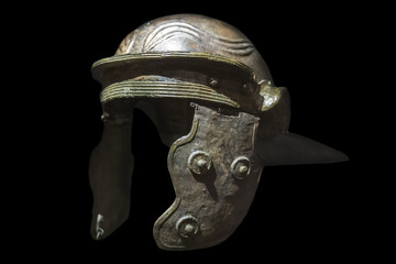 Galea or Roman soldier helmet. Isolated over black