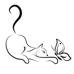 cat playing with butterfly on white background