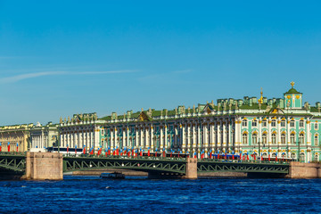 the Palace bridge with a view of the Hermitage in Saint Petersburg, on a Sunny day