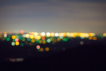 Night bokeh of a distant city