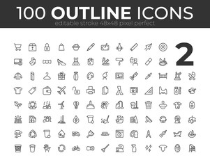 100 Universal Outline Icons For Web and Mobile. Editable Stroke. 48x48 Pixel Perfect.
