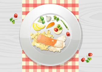 Salmon and Pasta Cream Sauce