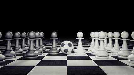 Chess figures play soccer business concept 3d render 3d illustration