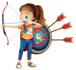 An Archer Girl with White Background