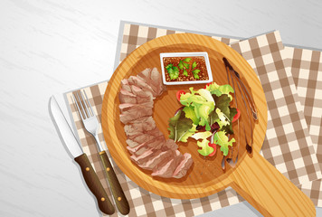Steak and Salad on Wooden Board