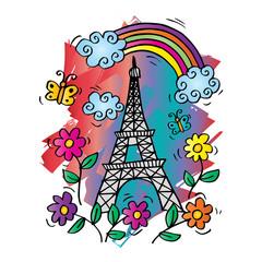 Spring Paris Card with Eiffel tower