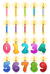 Vector icon set - colorful birthday candles on white background