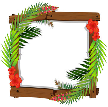 Beautiful Red Hibiscus and Leaf Frame