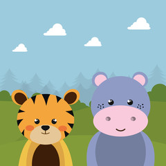 cute tiger and hippo in the field character vector illustration design