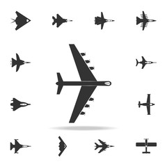 heavy military aircraft icon. Detailed set of army plane icons. Premium graphic design. One of the collection icons for websites, web design, mobile app