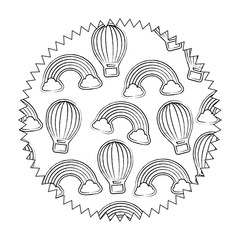 seal stamp of hot air balloon and rainbow pattern over white background, vector illustration
